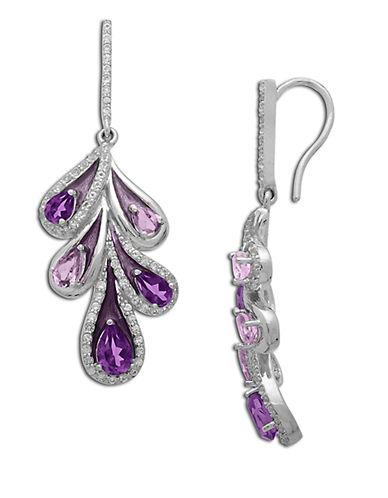 LORD & TAYLOR Sterling Silver Amethyst and White Topaz Drop Earrings