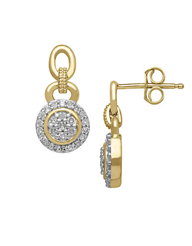 LORD & TAYLOR 14Kt. Yellow Gold and Diamond Earrings