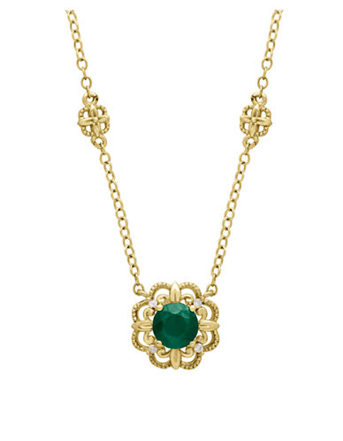 LORD & TAYLOR14Kt. Yellow Gold Emerald and Diamond Necklace