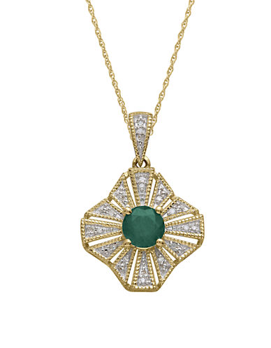 LORD & TAYLOR14Kt. Yellow Gold Emerald and Diamond Pendant Necklace