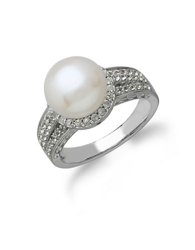 LORD & TAYLOR Sterling Silver Freshwater Pearl and White Topaz Ring