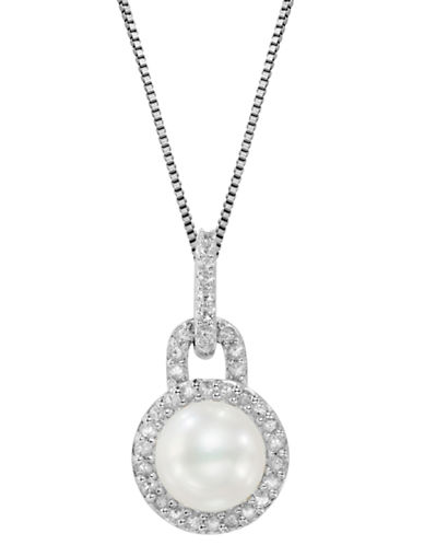 LORD & TAYLOR Sterling Silver Freshwater Pearl and White Topaz Pendant Necklace