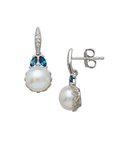 LORD & TAYLOR Sterling Silver Freshwater Pearl Blue Topaz and White Topaz Earrings