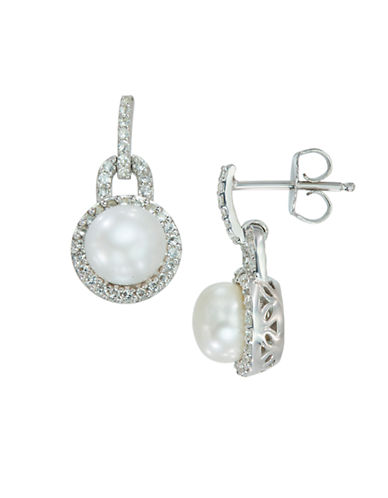 LORD & TAYLOR Sterling Silver Freshwater Pearl and White Topaz Earrings
