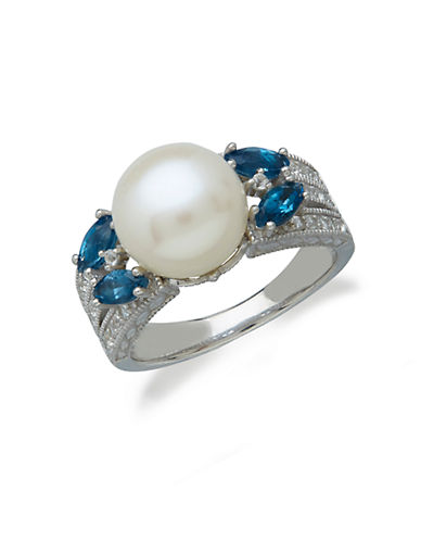LORD & TAYLOR Sterling Silver Freshwater Pearl Blue Topaz and White Topaz Ring