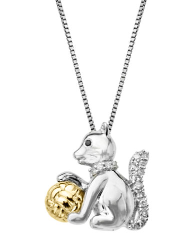 LORD & TAYLORSterling Silver 14Kt. Yellow Gold and Black Diamond Cat Pendant Necklace
