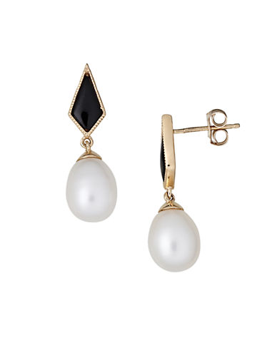 LORD & TAYLOR14Kt. Yellow Gold Freshwater Pearl and Onyx Drop Earrings
