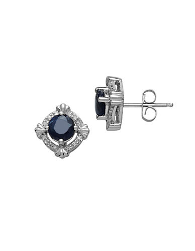 LORD & TAYLOR 14Kt. White Gold Sapphire and Diamond Earrings