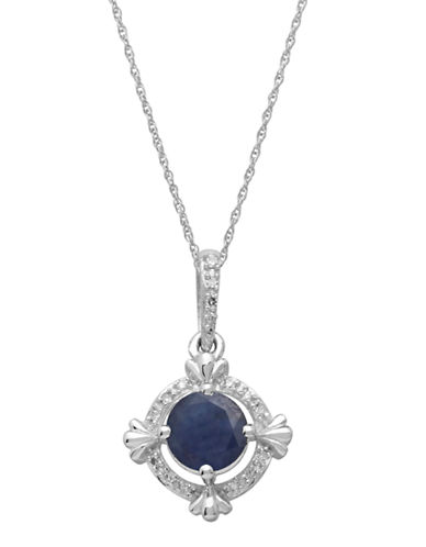 LORD & TAYLOR 14Kt. White Gold Sapphire and Diamond Pendant Necklace