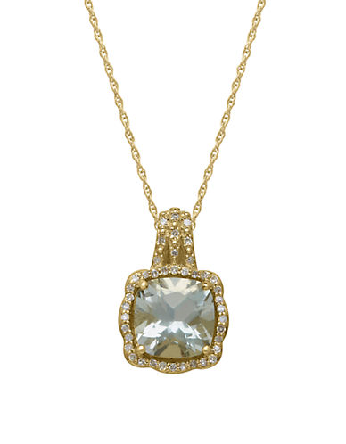LORD & TAYLOR14Kt. Yellow Gold Green Amethyst and Diamond Pendant Necklace