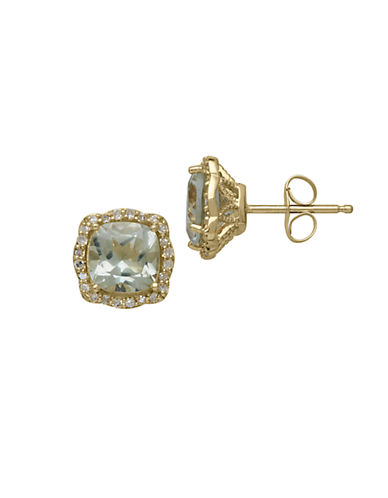 LORD & TAYLOR14Kt. Yellow Gold Green Amethyst and Diamond Earrings