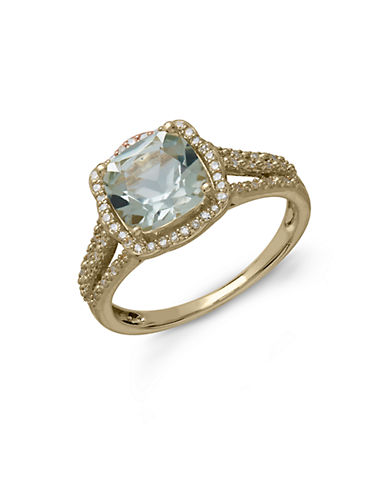 LORD & TAYLOR14Kt. Yellow Gold Green Amethyst and Diamond Ring