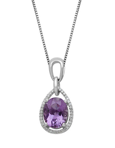 LORD & TAYLOR Sterling Silver, Diamond & Amethyst Pendant Necklace