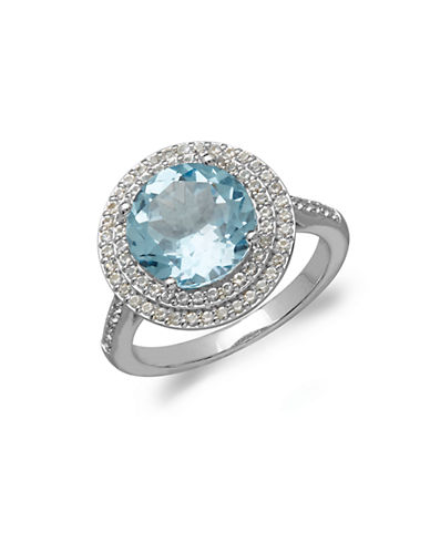LORD & TAYLOR14Kt. White Gold Sky Blue Topaz and White Topaz Ring