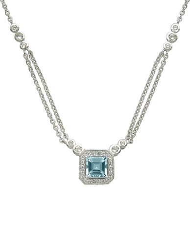 LORD & TAYLOR14Kt. White Gold Blue and White Topaz Necklace