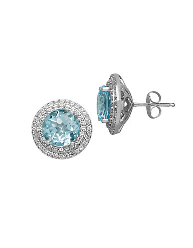 LORD & TAYLOR 14Kt. White Gold Sky Blue Topaz and White Topaz Earrings