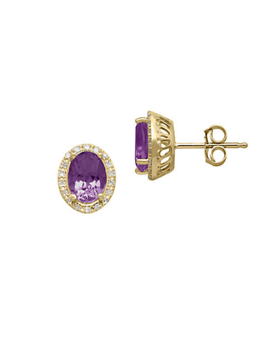 LORD & TAYLOR14Kt. Yellow Gold Diamond and Amethyst Earrings