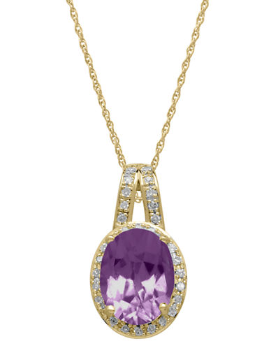 LORD & TAYLOR14Kt. Yellow Gold Diamond and Amethyst Pendant Necklace
