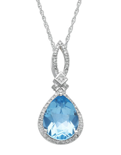 LORD & TAYLOR14Kt. White Gold Diamond and Blue Topaz Pendant Necklace