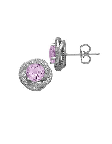 LORD & TAYLOR Sterling Silver Pink Amethyst and White Topaz Earrings
