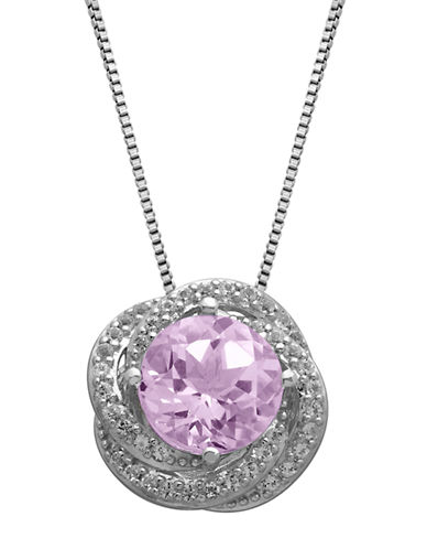 LORD & TAYLOR Sterling Silver, Pink Amethyst & White Topaz Pendant Necklace