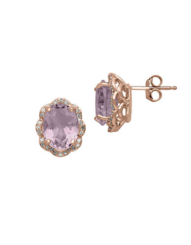 LORD & TAYLOR14Kt. Rose Gold Diamond and Pink Amethyst Earrings