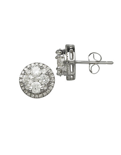 LORD & TAYLOR14Kt White Gold and 1.0 ct t w Diamond Earrings