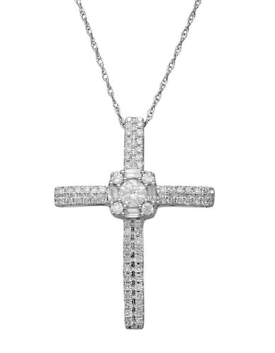LORD & TAYLOR 14Kt. White Gold and Diamond Cross Pendant Necklace