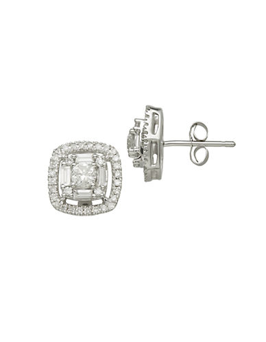 LORD & TAYLOR 14Kt White Gold and 0.75 ct t w Diamond Earrings