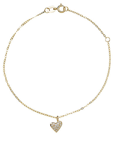 LORD & TAYLOR 14Kt. Rose Gold and Diamond Heart Bracelet