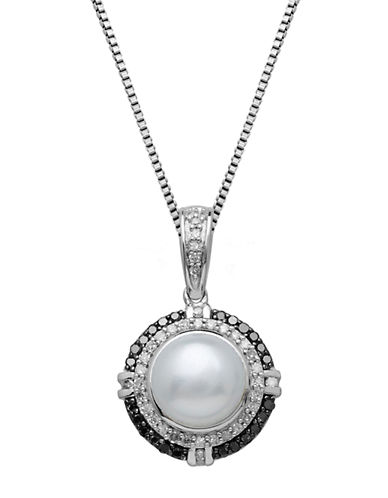 LORD & TAYLOR Freshwater Pearl Diamond And Black Diamond Sterling Silver Pendant Necklace