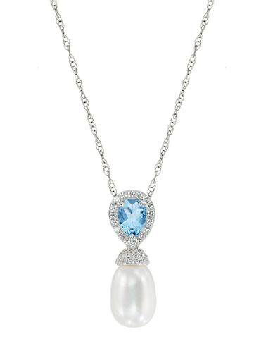 LORD & TAYLOR Sterling Silver Fresh Water Pearl Pendant Necklace with Blue and White Topaz