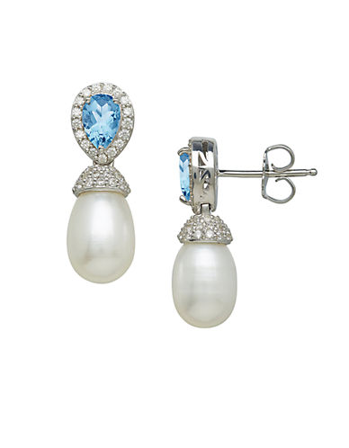 LORD & TAYLOR Sterling Silver and Fresh Water Pearl Earrings with Blue and White Topaz Stones