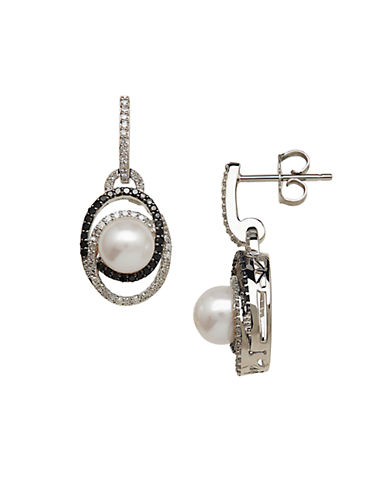 LORD & TAYLOR Freshwater Pearl and Diamond Sterling Silver Drop Earrings, 0.50 TCW