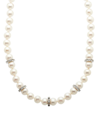 LORD & TAYLOR Sterling Silver Fresh Water Pearl and White Topaz Necklace