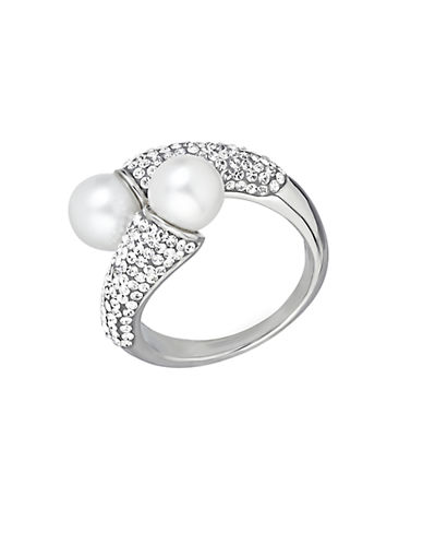 LORD & TAYLOR Sterling Silver Fresh Water Pearl and Crystal Ring