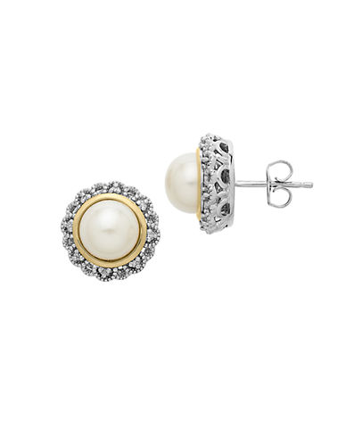 LORD & TAYLOR Sterling Silver and 14Kt Rose Gold Pearl Earrings with Diamonds