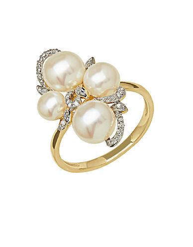 LORD & TAYLOR 14Kt Yellow Gold Freshwater Pearl and Diamond Ring
