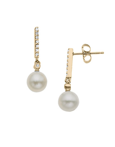 LORD & TAYLOR 14Kt. Yellow Gold Fresh Water Pearl and Diamond Drop Earrings