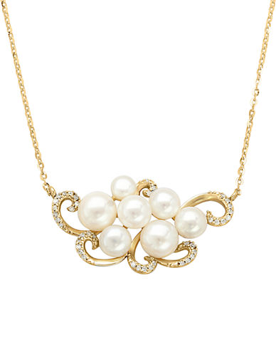 LORD & TAYLOR14Kt. Yellow Gold Fresh Water Pearl and Diamond Necklace