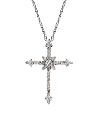 LORD & TAYLORDiamond and 14K White Gold Cross Pendant Necklace