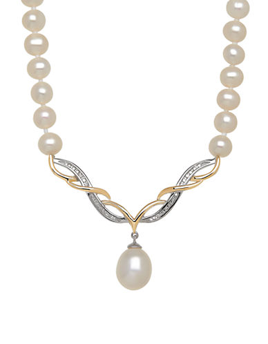 LORD & TAYLOR8-10MM White Freshwater, Diamond and 14K Rose Gold Necklace
