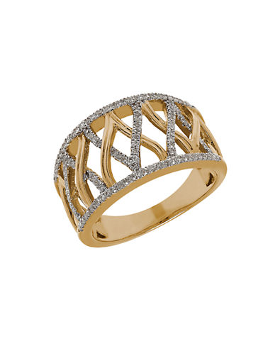 LORD & TAYLOR Diamond and 14K Yellow Gold Open Ring