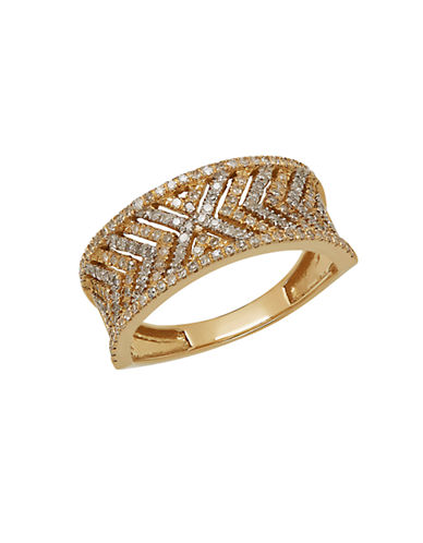 LORD & TAYLOR Diamond and 14K Yellow Gold Chevron Ring, 0.5TCW