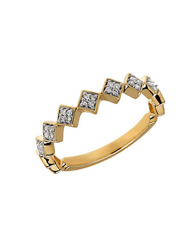 LORD & TAYLOR Diamond and 14K Yellow Gold Geo Ring