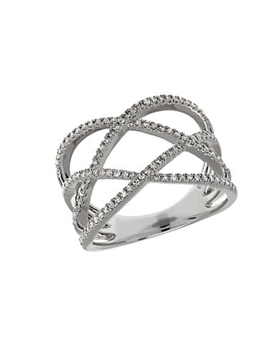 LORD & TAYLOR Diamond and 14K White Gold Crisscross Ring