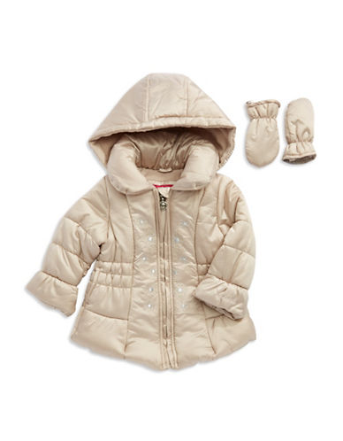 LONDON FOGBaby Girls Embroidered Puffer Coat with Mittens