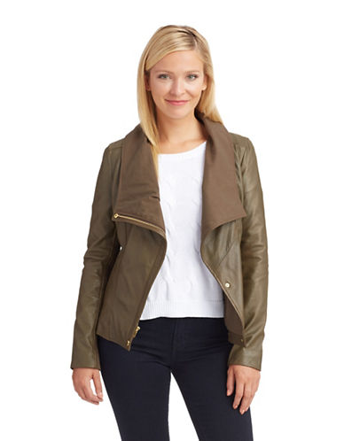 7 FOR ALL MANKINDAsymmetrical Zip Leather Jacket