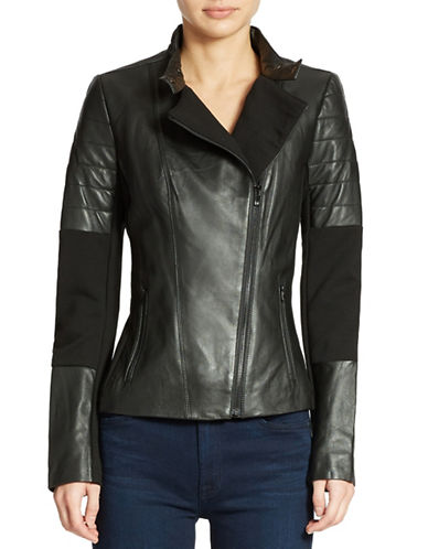 7 FOR ALL MANKIND Leather Ponte Moto Jacket