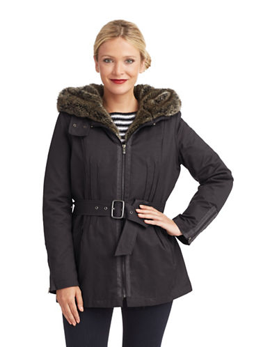 7 FOR ALL MANKINDBelted Parka With Faux Fur